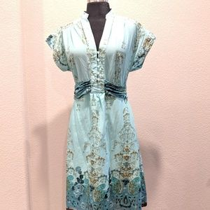Teal and brown dress. Size M